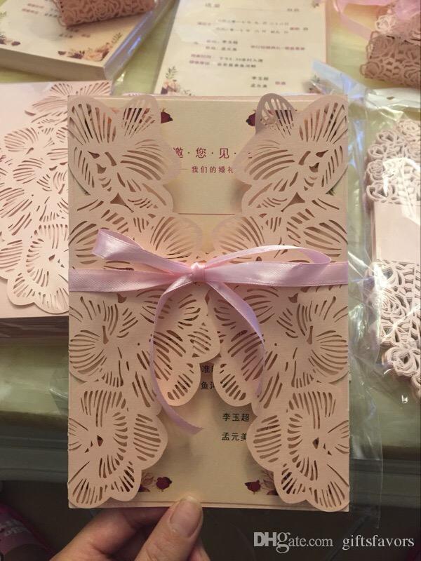 gli inviti europei all'ingrosso di cerimonia nuziale della perla incorniciano lo spazio interno delle carte di invito di taglio del laser dello strato interno trasporto libero del lotto