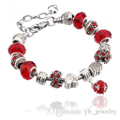 Tibetan silver Fine Pandora Beaded Strands Bracelet Big Glass Crystal Charms Beads DIY Bracelet Optional Factory Wholesale