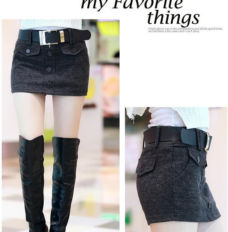 Korean Fall and Winter Women Shorts 2015 Woman Fashion Woolen Shorts Bottoming Culottes Outerwear with Belt Thick Cotton Shorts for Women