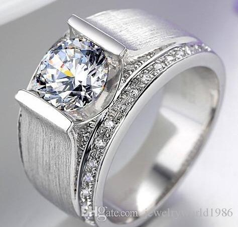 Freies Verschiffen-feine Großhandels1ct NSCD synthetischer Diamant-Ringe für das Sterlingsilber der Männer 925 stempelte Hochzeits-Mann-Ring