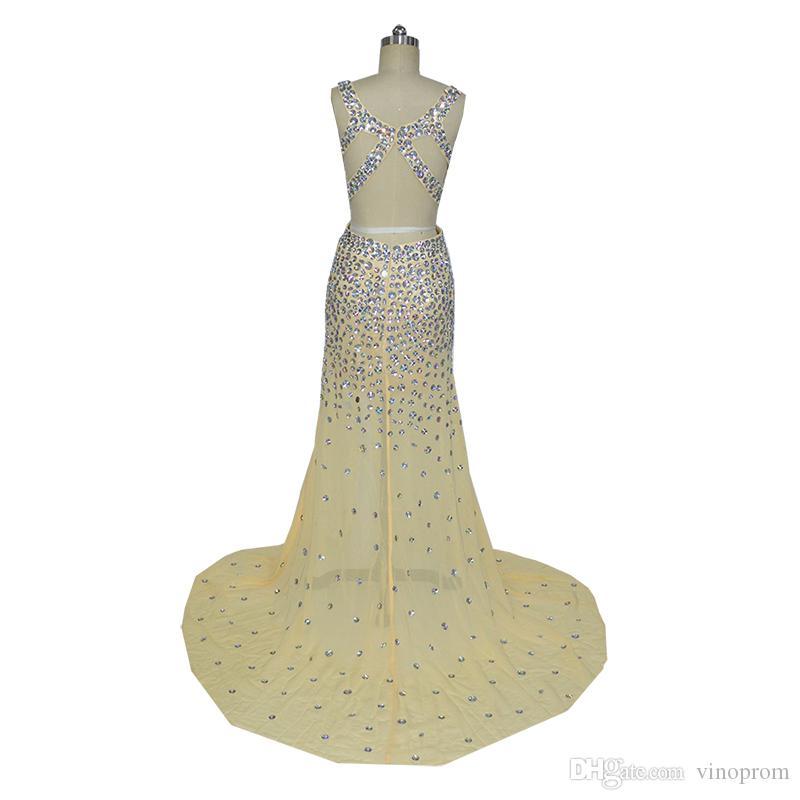 Vestidos Longos Para Perline Formatura Sirena Champagne Sweetheart spacco laterale in chiffon con perline sera abiti abito formale 2018
