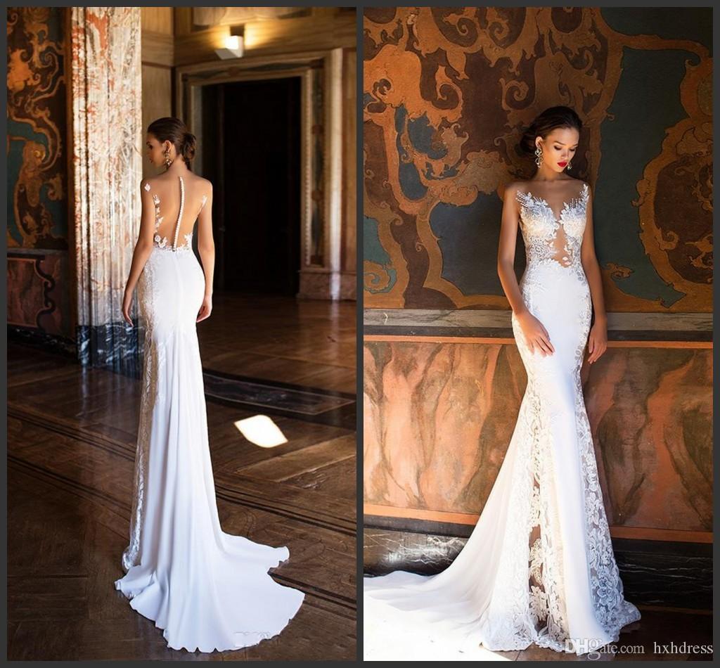 2020 새로운 밀라 노바 인어 웨딩 드레스 섹시한 순전히 목 열기로 돌아 가기 전체 레이스 웨딩 드레스 비치 신부 가운 392