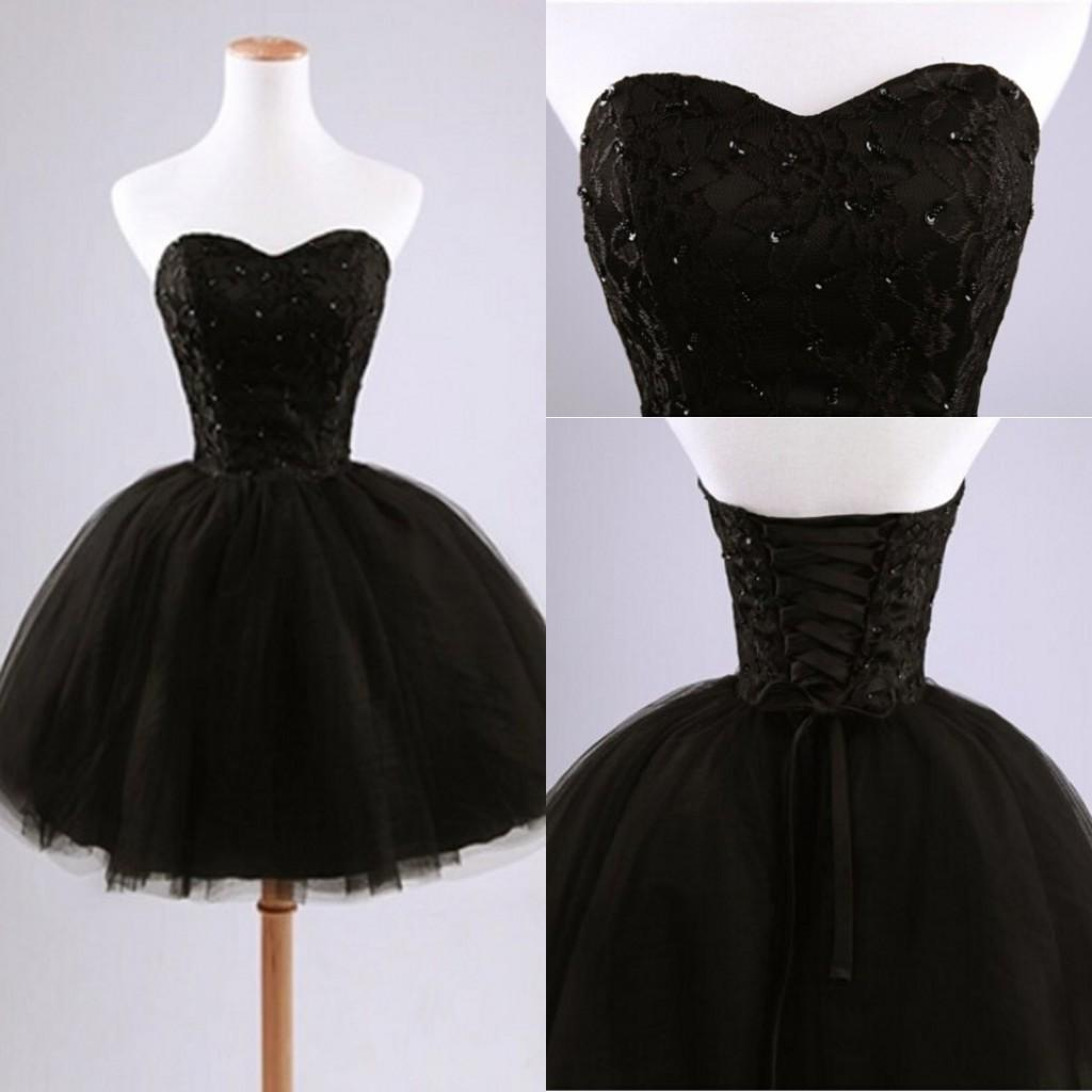 2015 black lace short ball gown party dresses