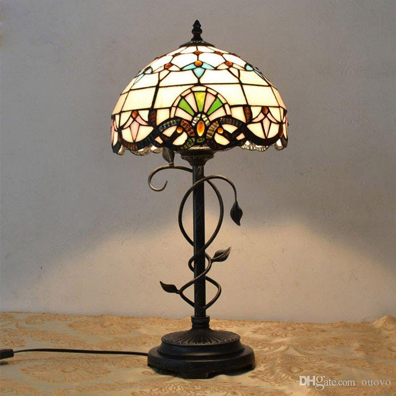 glass bedside table lamps glass bottom 2018 tiffany art bedside table lamps decorative bedroom study room desk lights mediterranean multi colored glass lampshade lighting fixture from ouovo