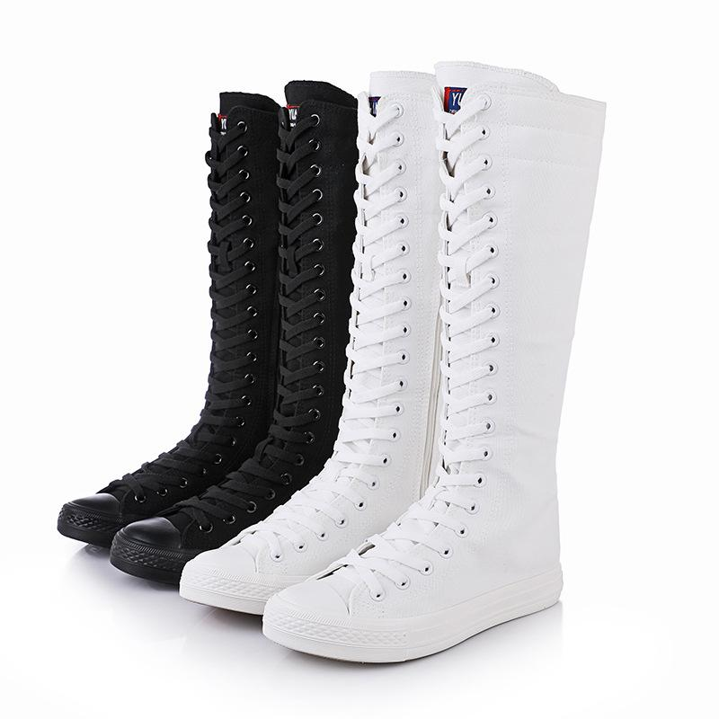 893a5632248 Women Lace-up Knee High Boots Flat Canvas Boots Casual Roman Boots Ladies  Zipper Side 2017 Fashion Dancing Shoes Plus Size Eu 35-42