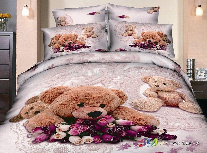 2019 Cute Brown Teddy Bear Print Cotton Bedding Set
