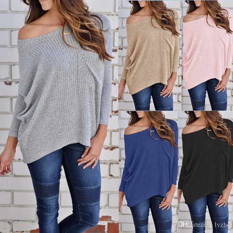c89a7616bcb New Women Long Sleeve Off Shoulder Loose Casual Sweater T-Shirt Tops Blouse  Pullover 4 Size Tops Blouse T-Shirt Online with $15.07/Piece on Lvzhe999's  Store ...