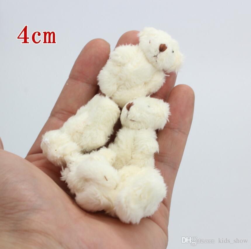 hot 4.0cm mini Joint Teddy Bear Plush Stuffed Wedding BOX toy doll Garment & Hair Accessories decor doll