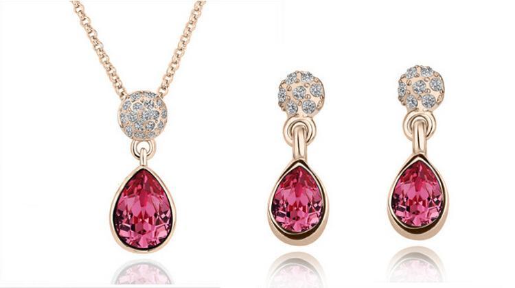 18k австрийский Кристалл ожерелье серьги капли воды мода горный хрусталь африканские ювелирные изделия для женщин ювелирные наборы 1438