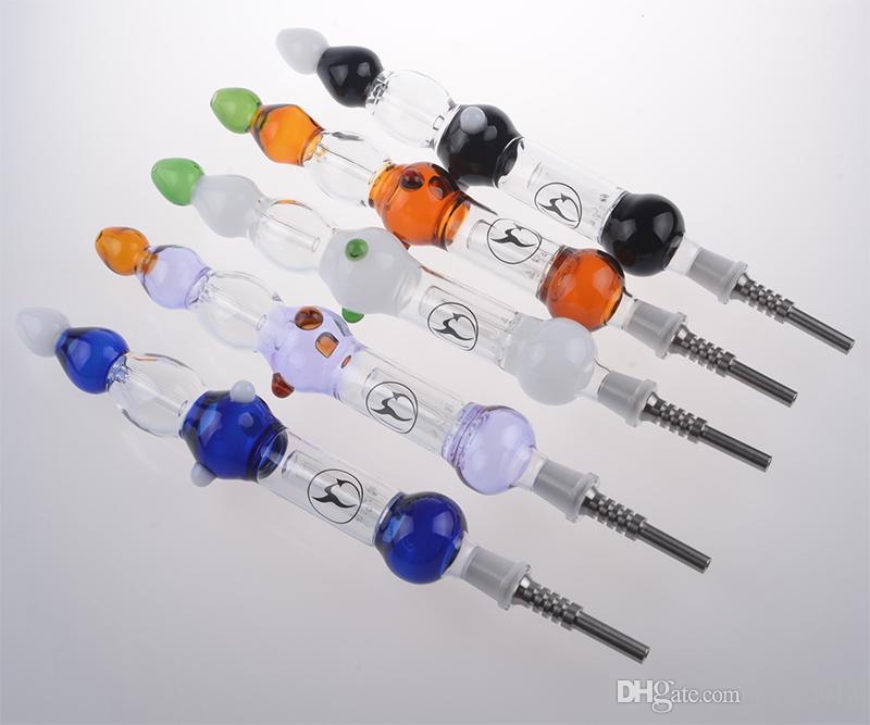 2.0 con Titanium punta Titanium Nail 14 millimetri Nail invertito Grado 2 paglia di vetro tubo di vetro Bong
