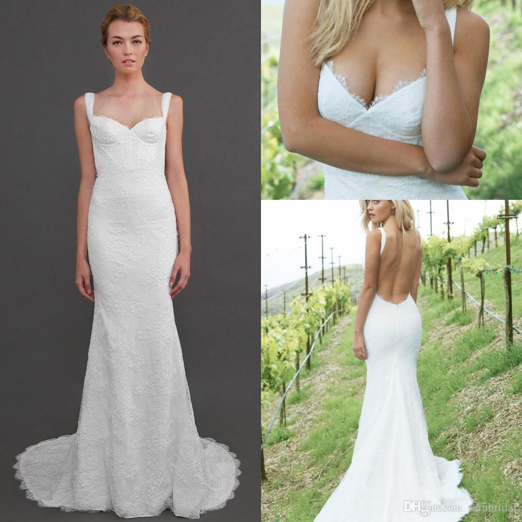 2018 Vintage Katie May Lace Wedding Dresses Spaghetti Strap Sexy Open Back Court Train Spring Summer Beach Garden Sienna Gown Bridal 2017