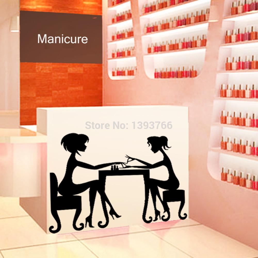 hot nail bar shop hair beauty salon wall art stickers decal diy home decoration mural removable. Black Bedroom Furniture Sets. Home Design Ideas