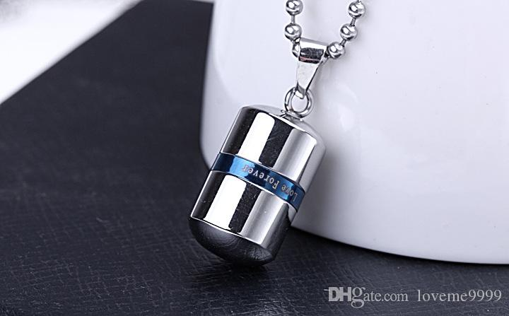 Memorial Love forever Pill Jewelry High quality openable Stainless Steel Pill capsule Pendant Cremation Ash Urn Locket Necklace Urns Jewelry