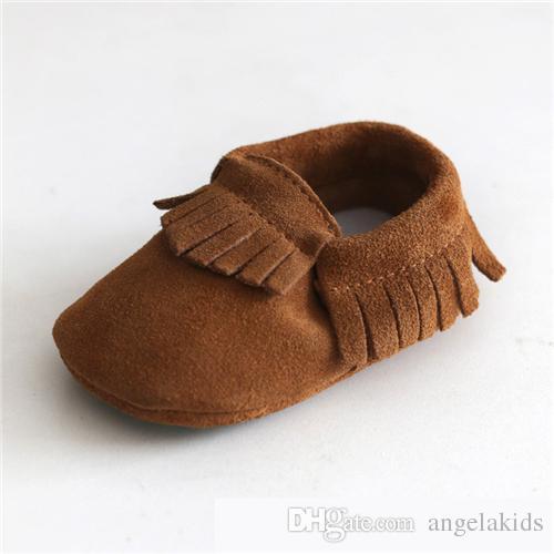 chaussures pour bébés Baby Mocassins Soft Sole Moccs Chaussures en cuir véritable Bottillons Prewalker Tout-Petits Bébés Bébés Fringe Cuir Mocassin Chaussures