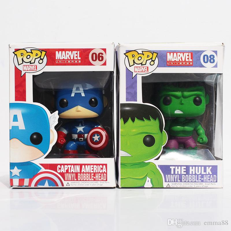 """FUNKO POP Avengers Captain America Hulk Iron man PVC Action Figure Collection Toy Doll 4"""" 10CM Free shipping"""