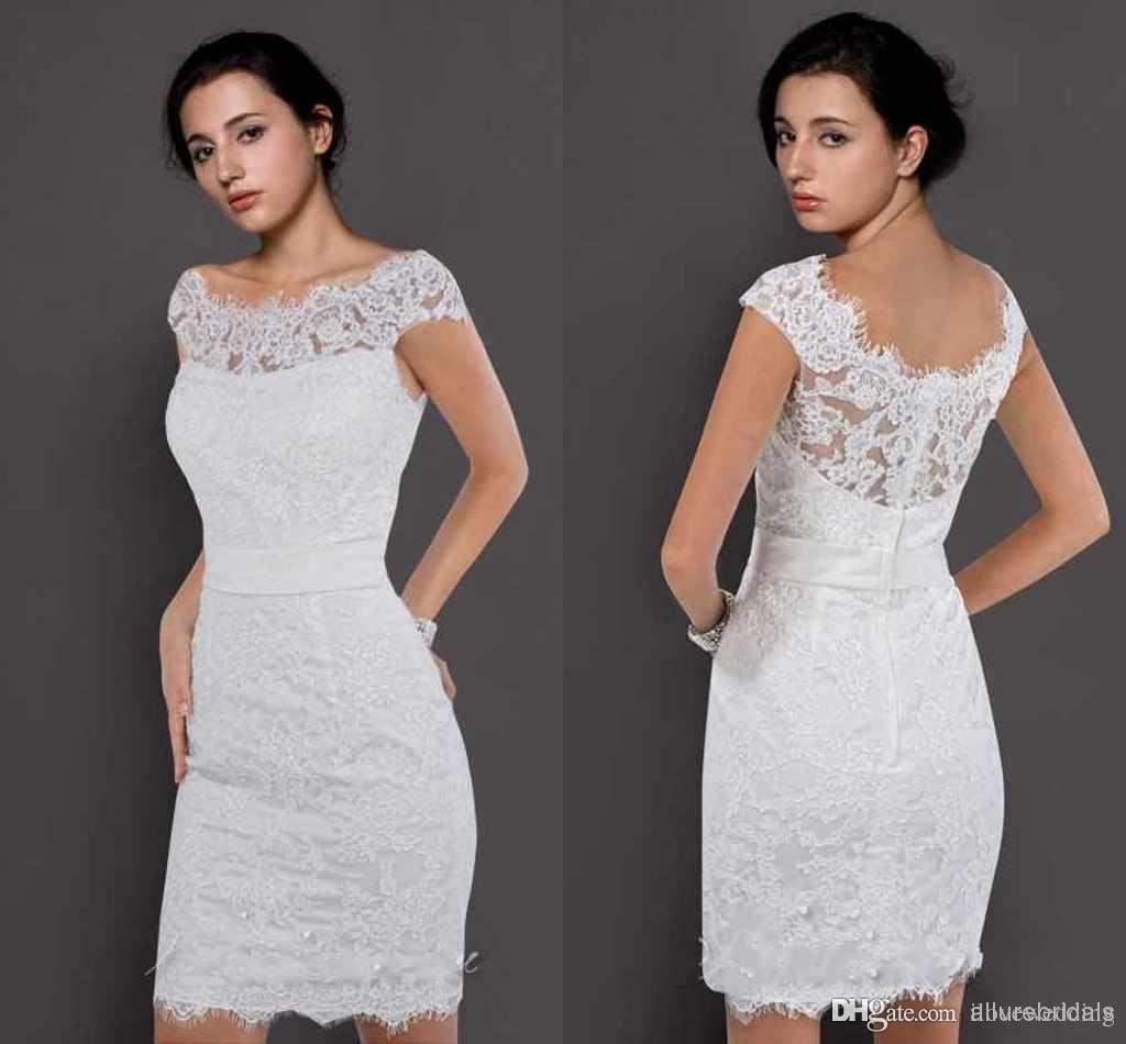 Short Sleeve Simple Wedding Dress: Discount 2015 Custom Made Hot Wedding Dresses Sheath Off