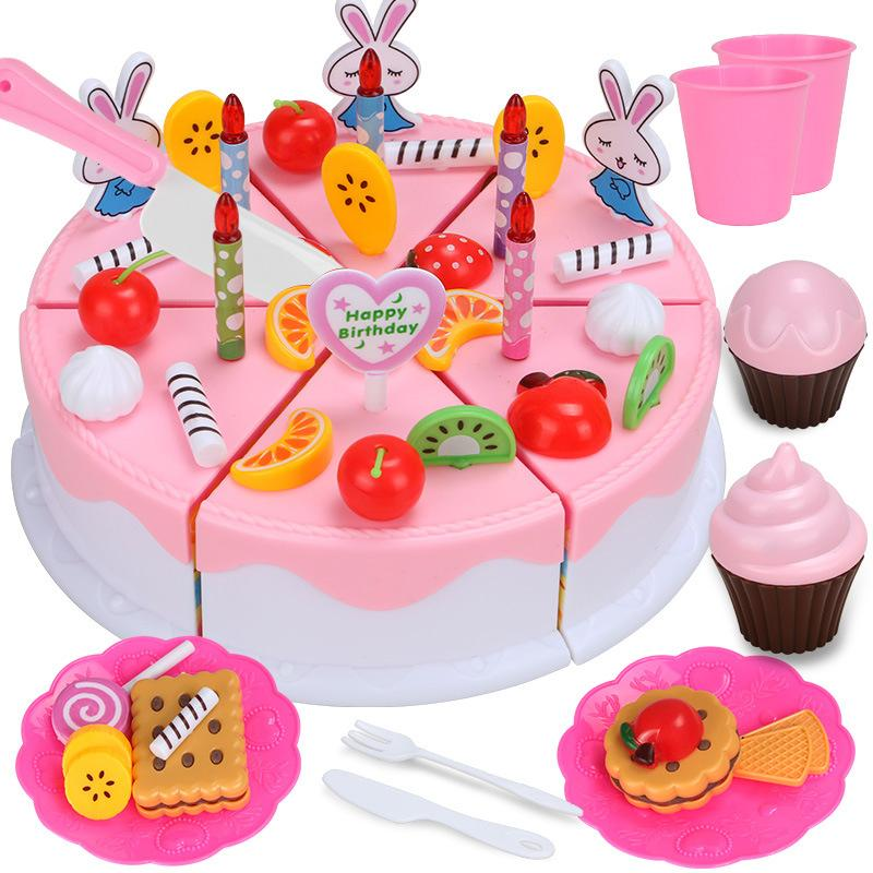 2018 Wholesale Pink Blue Birthday Cake Cutting Toys Set Cream For