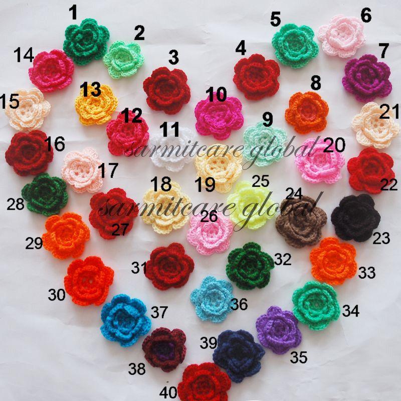 2.5 ''-2.75 'Materiais Misturados Artesanais Flores De Crochê Apliques de Costura Guarnições Arco Bebê Pano Acessórios Flores Artificiais Frete Grátis