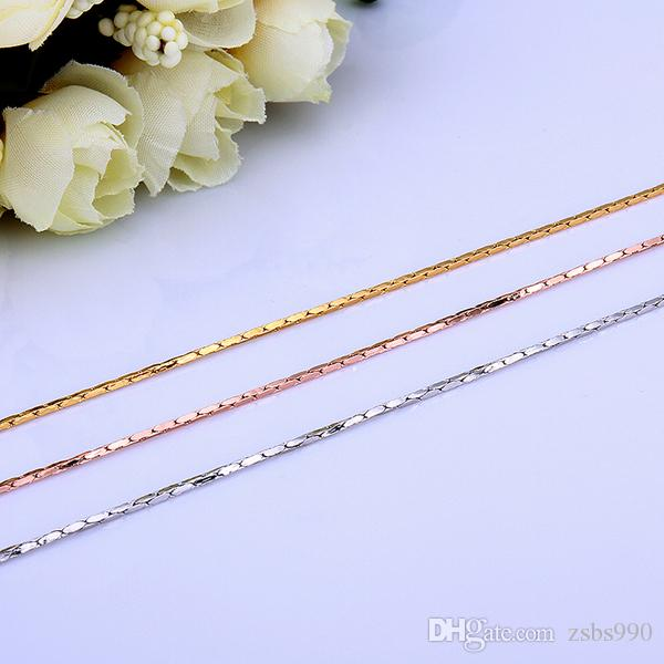 Collar de cadena de oro de alta calidad de 18K 1.5MM 0.5MMX18inches joyería de moda regalo de boda envío gratis