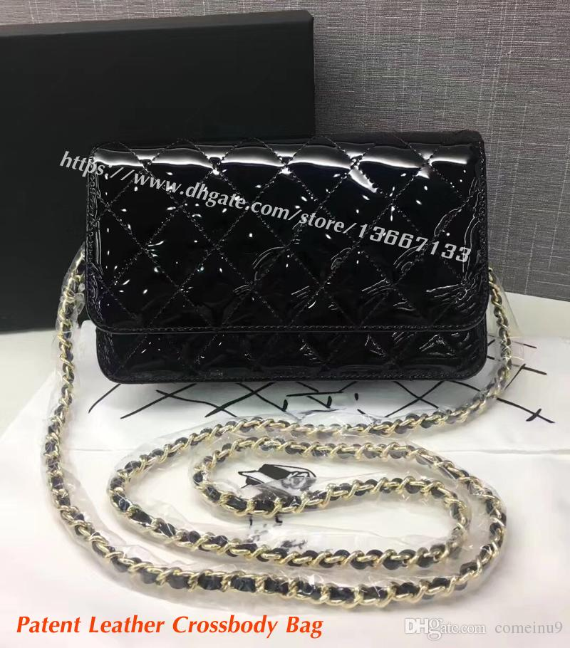 e328207ee051 Factory Price Women S Mini Crossbody Bag 20CM Black Genuine Patent Leather  Flap Chain Bag Female Fashion Shoulder Messenger Bags Luxury Bags Handbags  ...