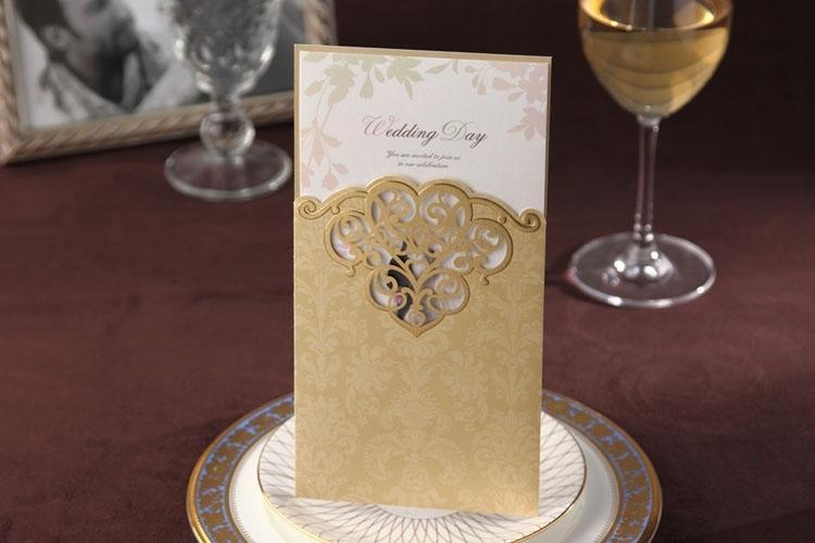Cheap Champagne Wishmade Bride Groom Printing Wedding Invitation