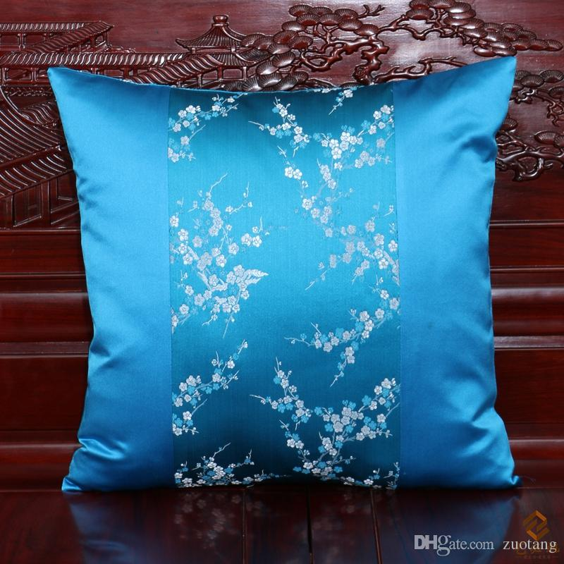 Luxury Fancy Patchwork Sofa Chair Back Cushion Decorative Chinese style Throw Pillow Silk Satin Lumbar Support Cushion Backrest