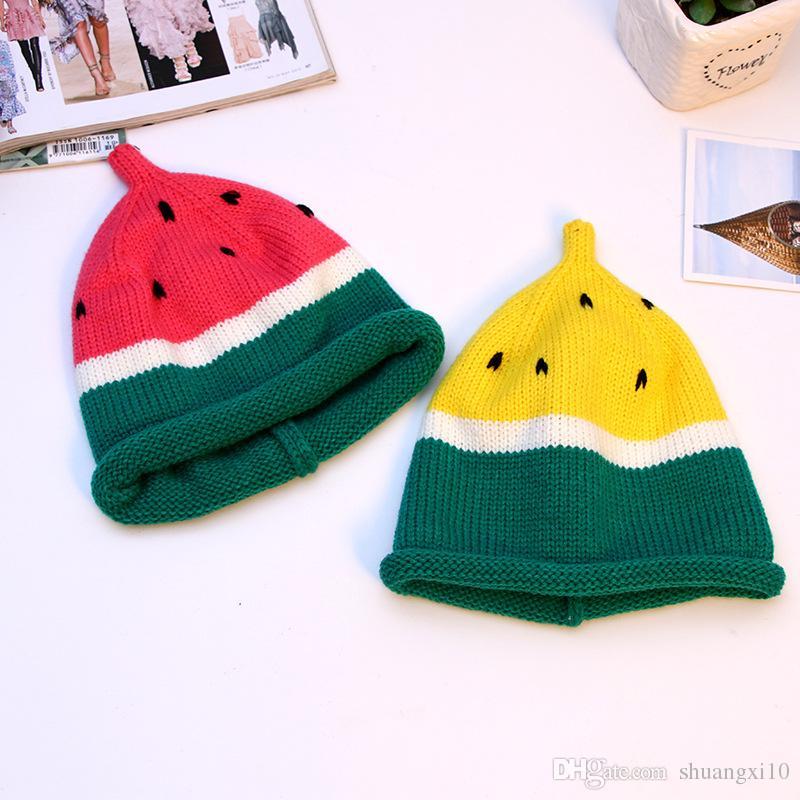 New Toddler Kids Girl&Boy Cute Watermelon Hat Baby Infant Winter Warm Crochet Knit Hat