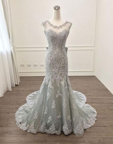 Sliver Sirena Abiti da sera Abiti da Sera Formali 2021 Sheer Bateau Neck Lace Applique Long Cheap Prom Dress Red Tappeti Tappeti reali Foto vere