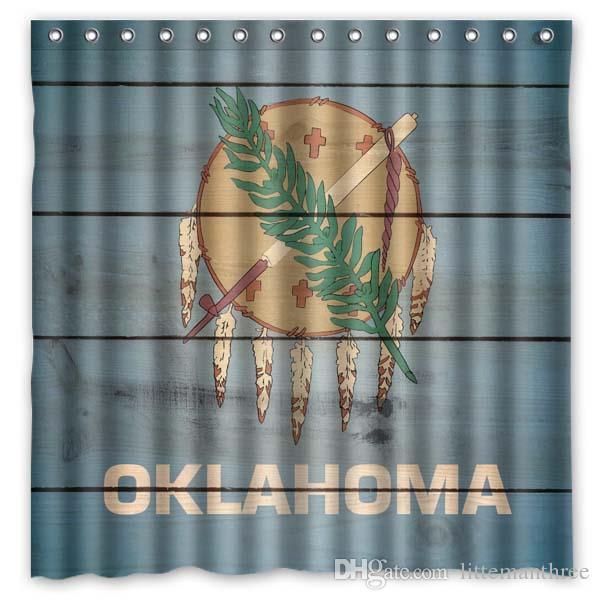 2018 Oklahoma States Flag Seal Design Shower Curtain Size 180 X 180 ...
