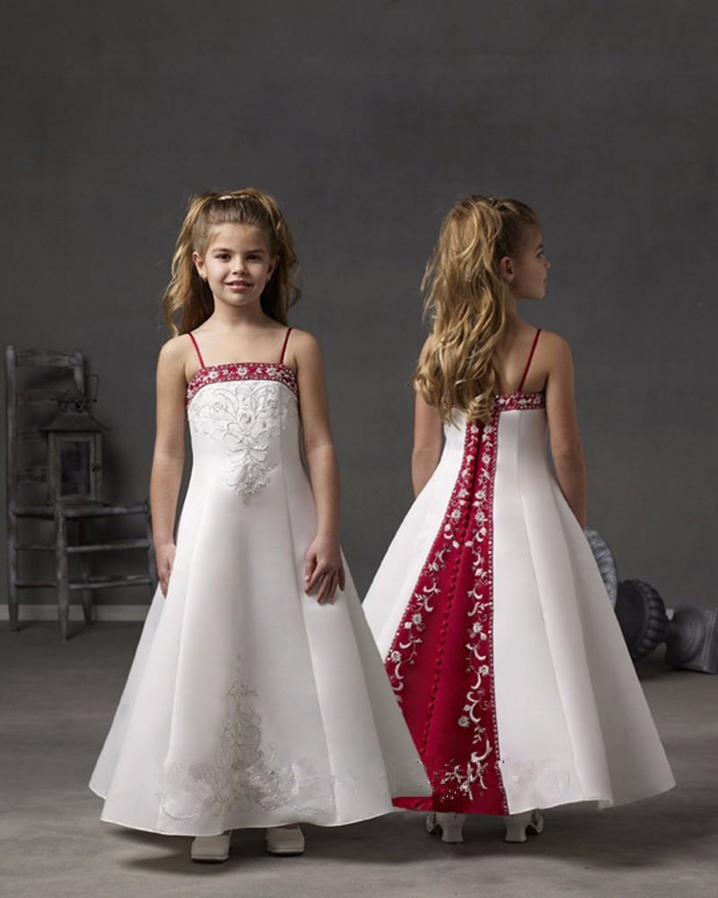 2016 Kids Gowns Party Dresses For Girls 8 Years White And Red Flower