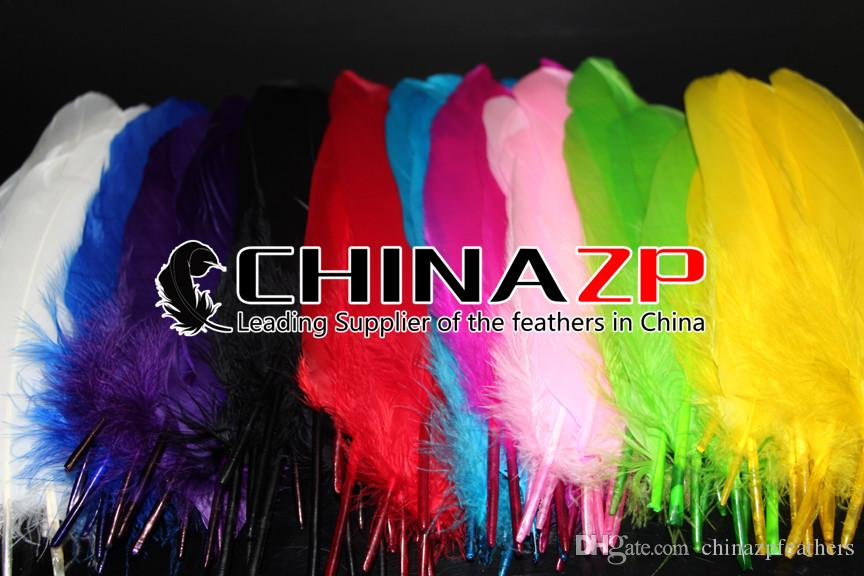 Newest Plumage CHINAZP Crafts Factory 100% Exporting 10~15cm4~6inch Cheap Dyed Hunter Green Goose Loose Feathers for Decorations