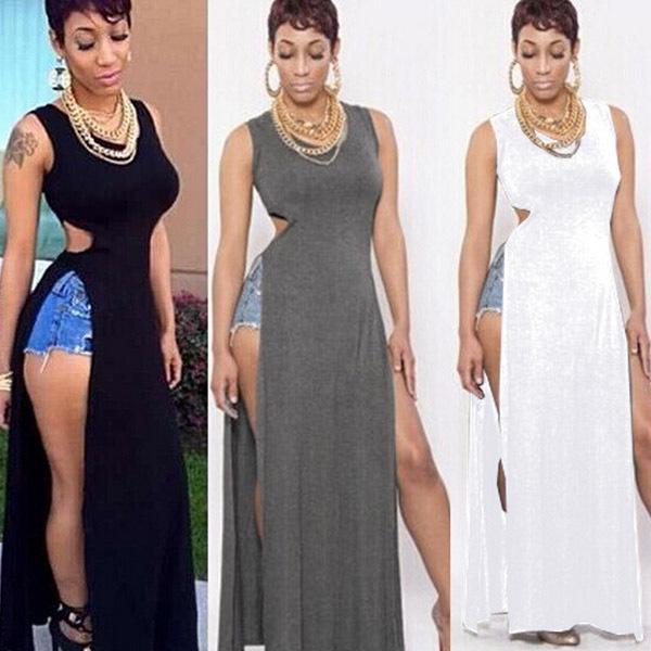 0599f365e1e Summer Casual Women Cut Out High Slit Hole Vest Tank T Shirt Vestidos  Clubwear Empire Party Solid Bodycon Slim Long Maxi Dress Blue Dress Girls  Dresses From ...