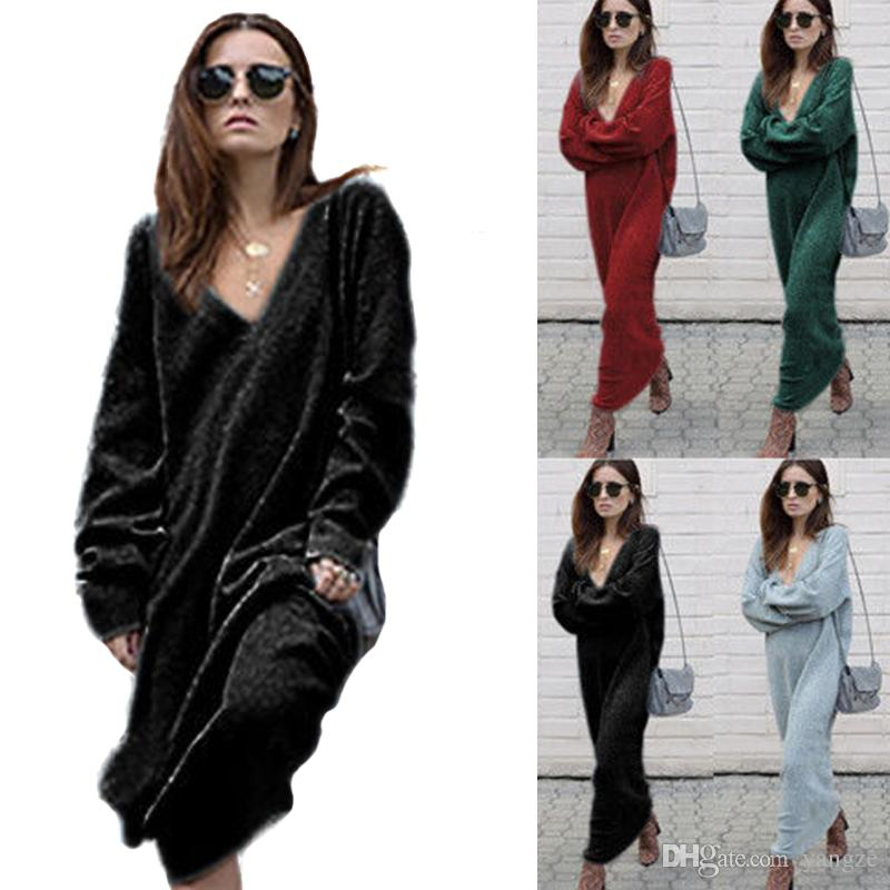 Women Deep V Neck Cable Knitted Sweater Designer Thin Shirt Long