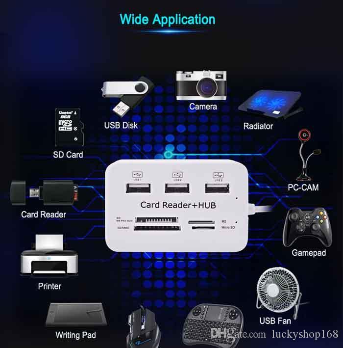 Nouveau Micro Hub Combo 2.0 haute qualité lecteur de carte 3 ports haute vitesse Multi USB Splitter Hub Combo USB tout en un pour PC ordinateur DHL