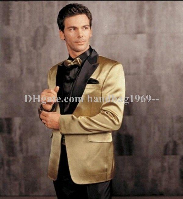 Fashion Gold Jacket With Black Pants Groom Tuxedos Peak Lapel Groomsmen Mens Wedding Dress Prom Blazer Suits Jacket+Pants+Girdle+TieAA894