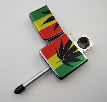 New arrivel creative metal rasta Reggae lighter type portable smoking pipes for cigarette hookah
