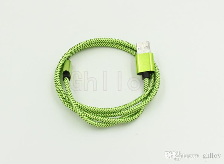Lujo Aluminio Metal 1M 3FT Redes Cable trenzado Micro USB Cable en espiral Cargador de sincronización de datos para Samsung es