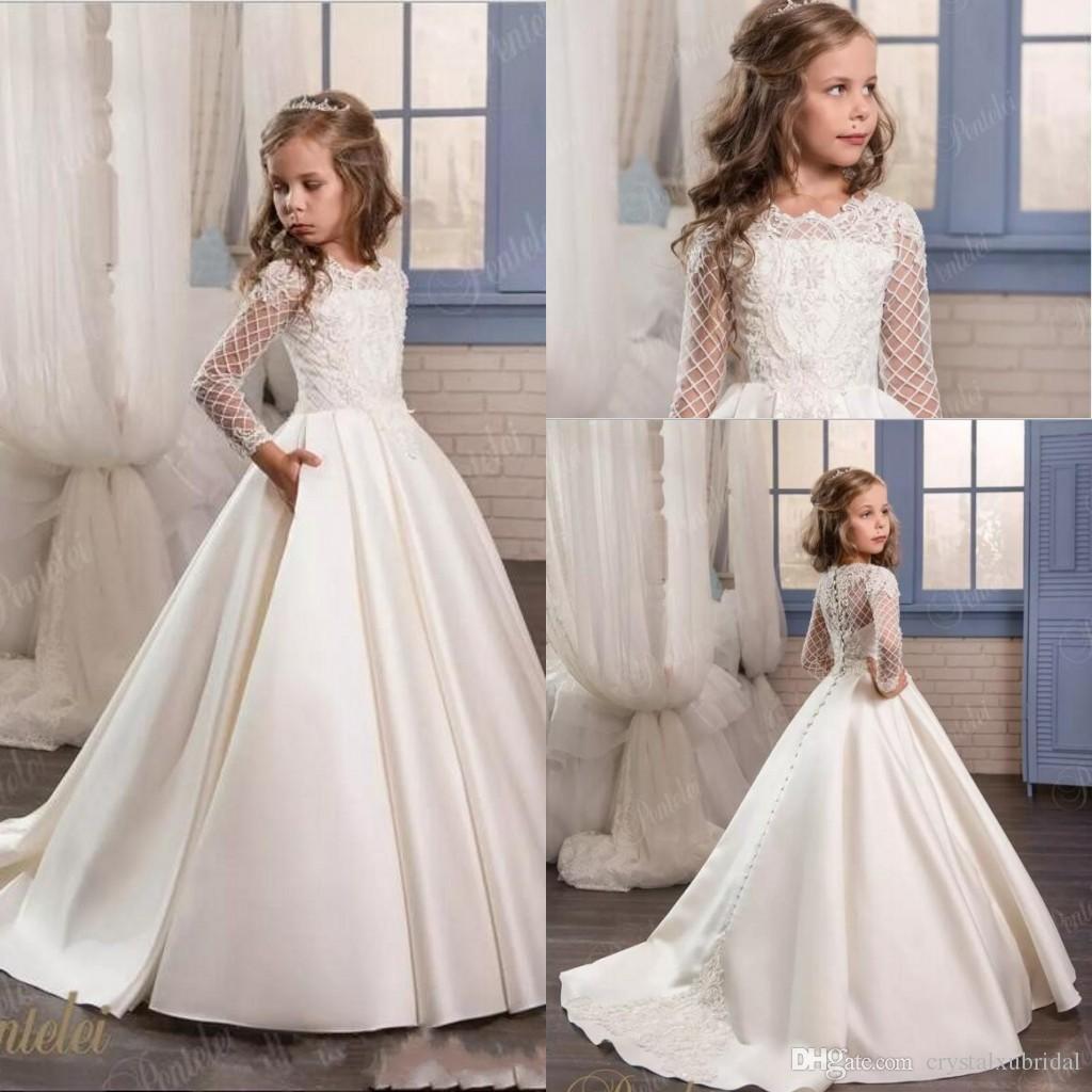 White Lace Flower Girl Dresses For Kids Wedding 2018 Cheap Sheer
