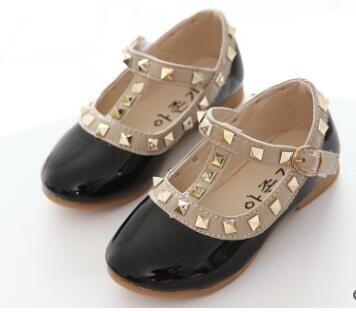 Children Shoes Spring New Fashion Rivet Bowknot Girls Princess Shoes ... f935a83e8628