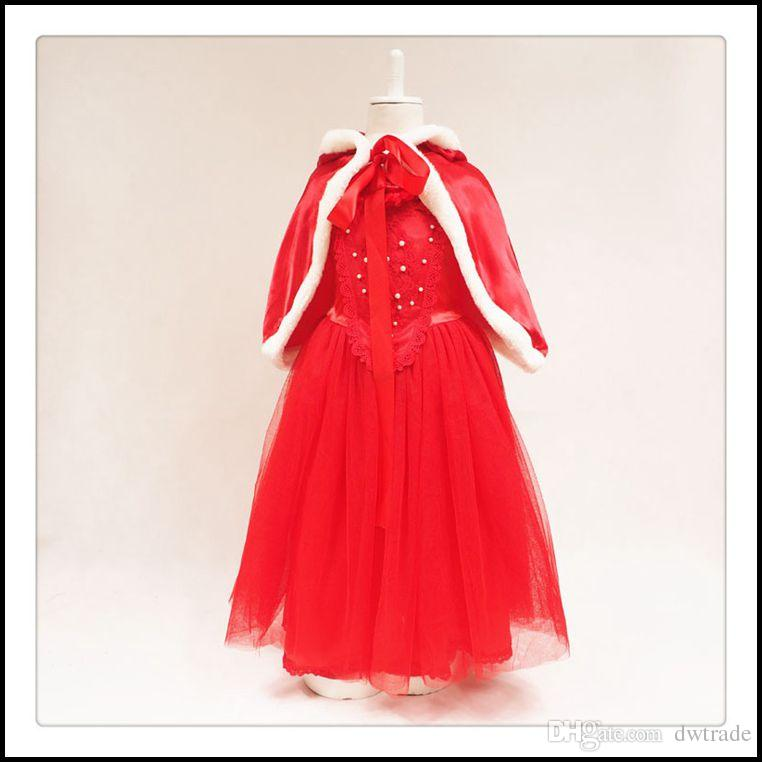 Samgami Baby girls Christmas princess party dresses Kids girl frozen cosplay flower lace dress decor beadings with fur collar capes Sa0017#