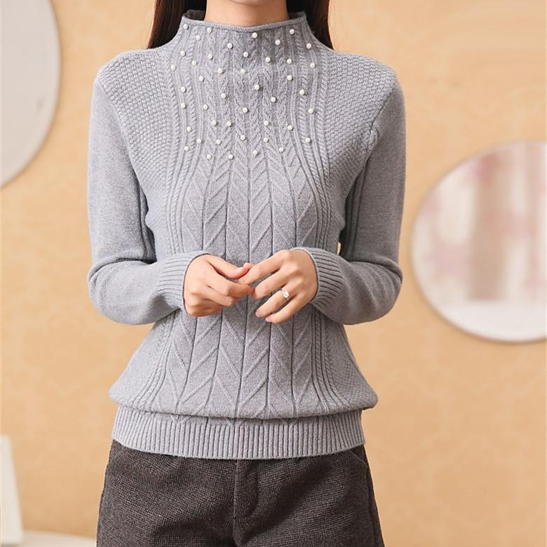 Spring And Winter Women's Beading Half Turtleneck Sweater Sleeve ...
