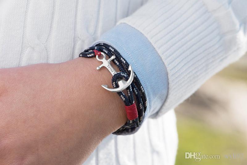 Tom esperança pulseira 4 tamanho encantos âncora Atlântico 3 cadeias vermelhos da linha pulseira de aço inoxidável pulseira com caixa e tag TH2