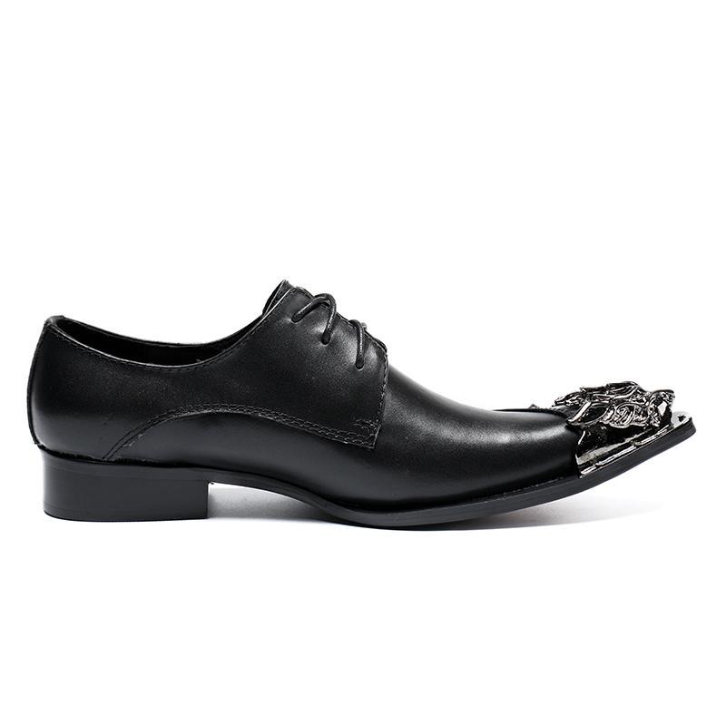 Big Size 38-46! Scarpe in pelle da uomo in vera pelle nera con rivetti scarpe in pelle Oxford Scarpe da uomo di design uomo Fashion Pointed Toe