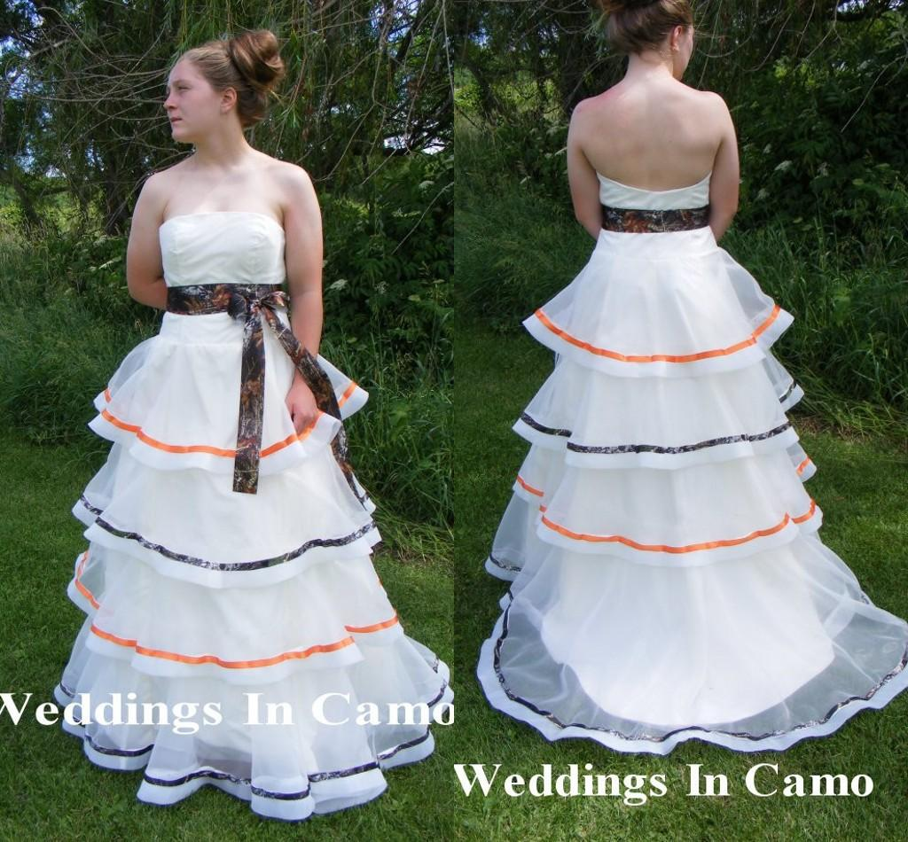 Hot Sale Camo Ball Gown Wedding Dresses Strapless Tiered Sash Bridal ...