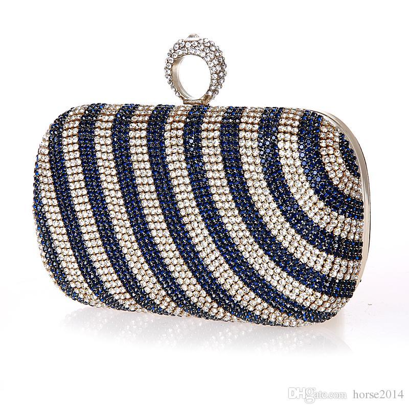New Mini Finger Ring Handbag Diamond Rhinestone Clutch Bag Evening Banquet Crystal Purse Beautiful Bride Party Purse