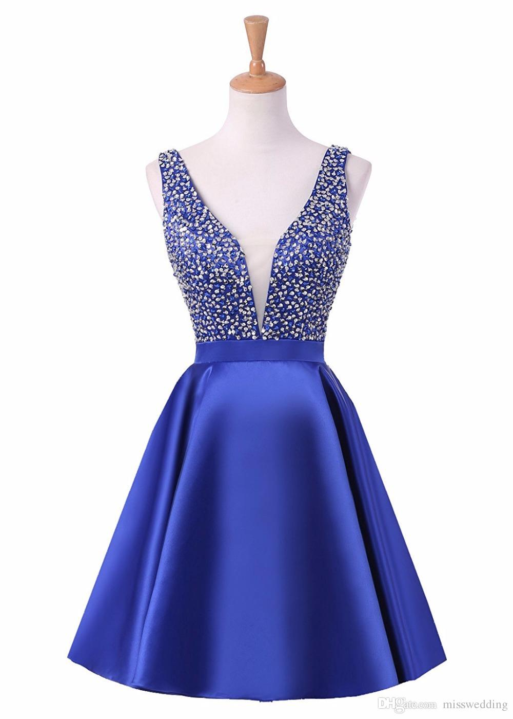 Sexy V Neck Latest Ladies Cocktail Dress With Beaded Bodice Knee ...