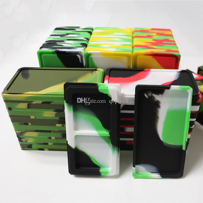 Düz 1 + 1 silikon konsantre konteynerler dab balmumu silikon kullanımlık gıda kapları balmumu yağ silikon konteyner kuru ot tutma