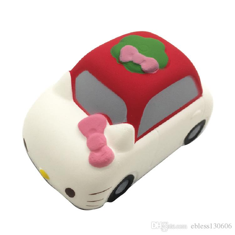 New arrival Hello Kitty squishy Pu car slow rebound 9CM simulation bread vent toys wholesale mini squishies Kids Toys