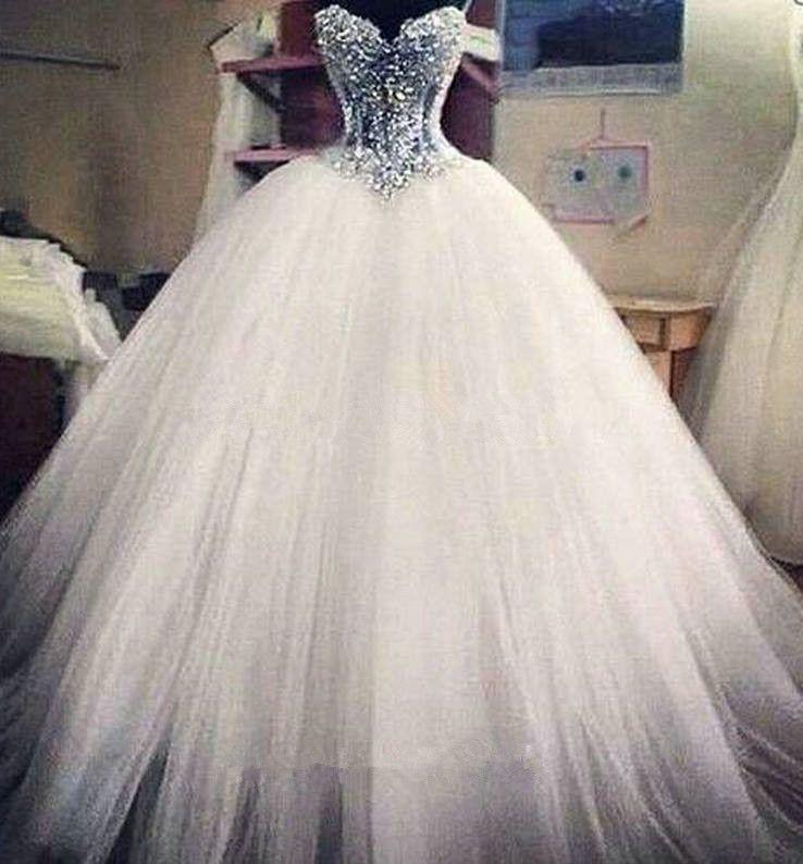 2015 perlas con cuentas Sexy Sweetheart organza vestido de bola vestidos de novia con cordones Vestidos De Noiva vestidos de novia de la longitud del piso QS36