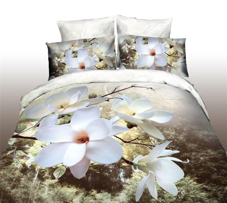 3d bedding white magnolia flower 3d bed set promotion cotton 3d bedding white magnolia flower 3d bed set promotion cottonpolyester comforterduvetquilt cover bedding set5008 air shipping bedding sets for sale cheap mightylinksfo